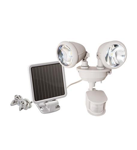 Solar-Powered Dual Head LED Light WHITE