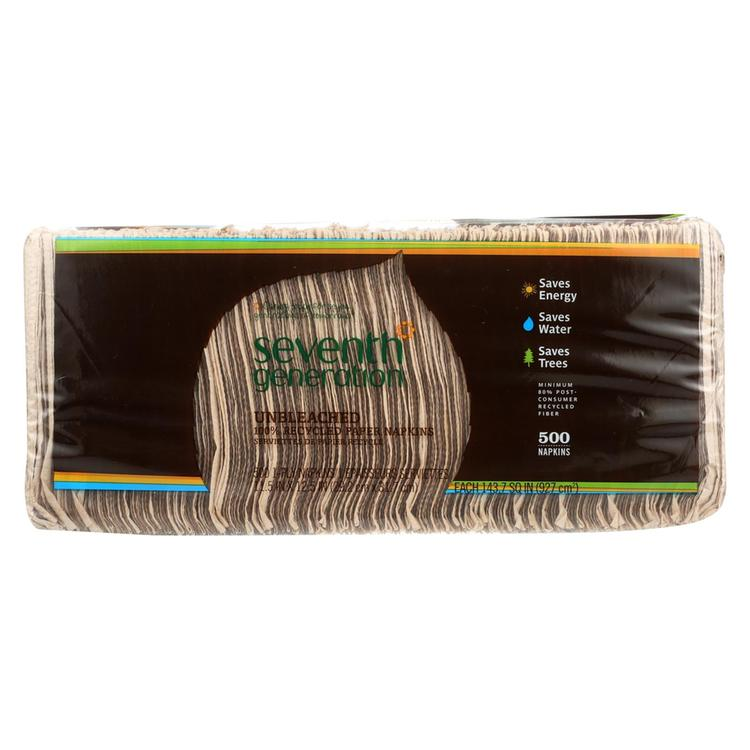 Seventh Generation Recycled Napkins - Unbleached - Case of 12 - 500 Count