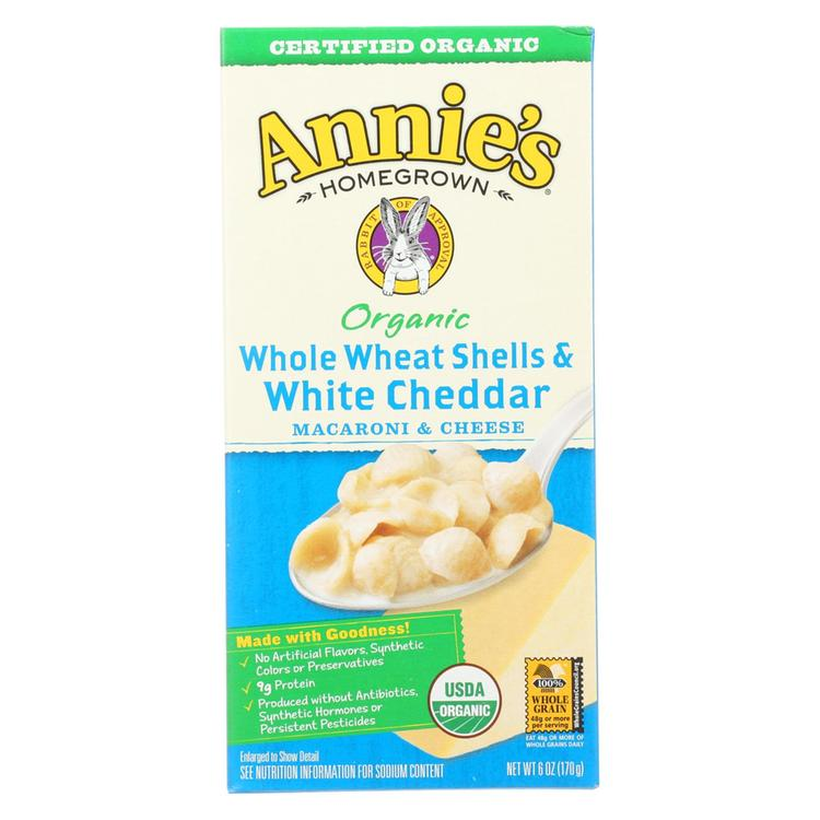Annies Homegrown Macaroni and Cheese - Organic - Whole Wheat Shells and White Cheddar - 6 oz - case of 12