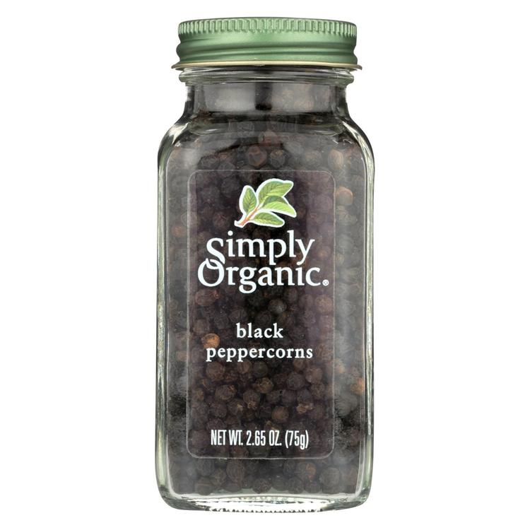 Simply Organic Black Peppercorns - Case of 6 - 2.65 oz.