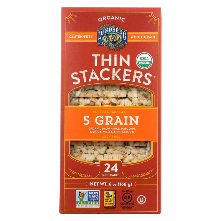 Lundberg Family Farms Organic Thin Stackers Puffed Grain Cakes - Case of 12 - 5.9 oz.