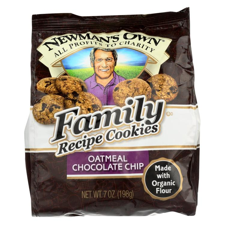 Newman's Own Organics Oatmeal Cookies - Chocolate Chip - Case of 6 - 7 oz.