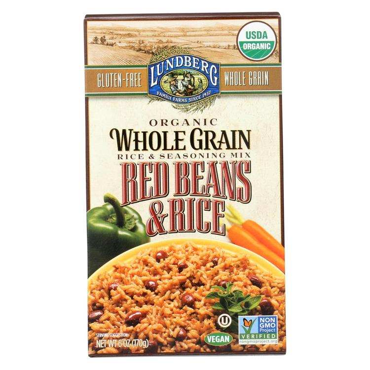 Lundberg Family Farms Organic Whole Grain Red Beans and Rice - Case of 6 - 6 oz.