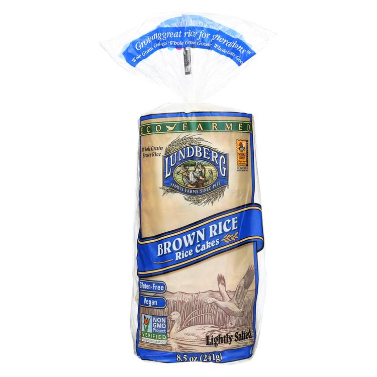 Lundberg Family Farms Brown Rice Cake - Lightly Salted - Case of 12 - 8.5 oz.
