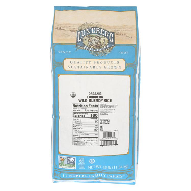 Lundberg Family Farms Organic Wild Blend Gourmet Brown Rice - Case of 25 lbs