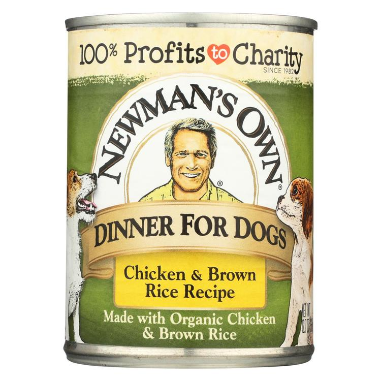 Newman's Own Organics Premium Dog Food and Brown Rice - Chicken - Case of 12 - 12.7 oz.