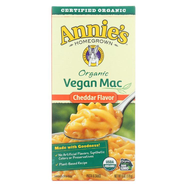 Annie's Homegrown Organic Macaroni & Cheese - Vegan Cheddar Flavored - Case of 12 - 6 oz