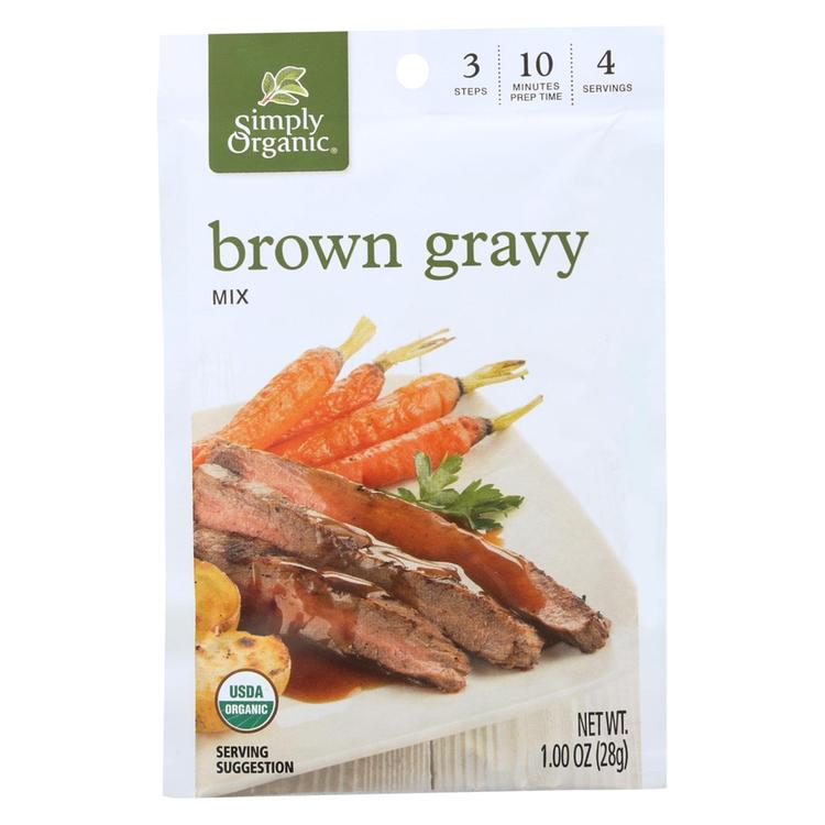Simply Organic Vegetarian Brown Gravy Seasoning Mix - Case of 12 - 1 oz.