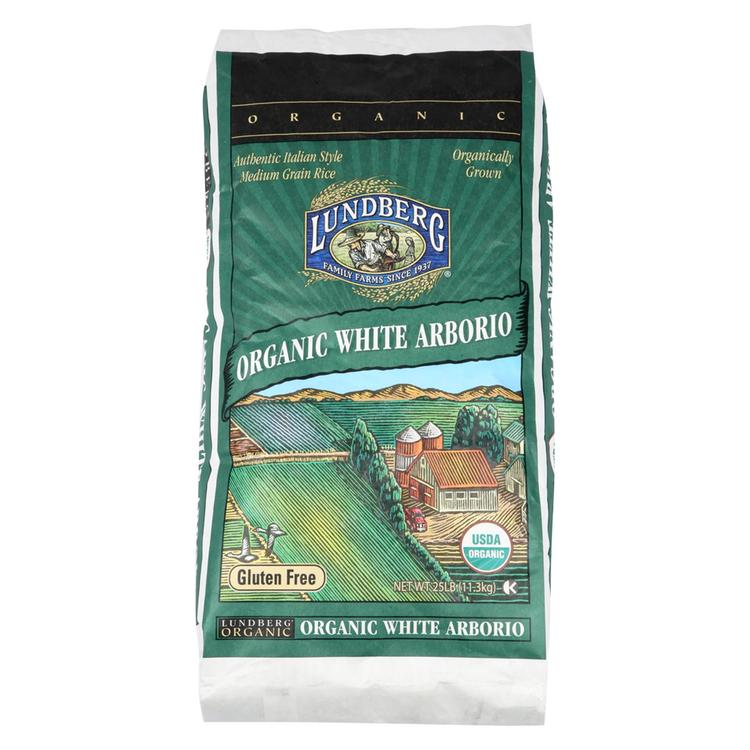 Lundberg Family Farms Organic California White Arborio Rice - Case of 25 lbs