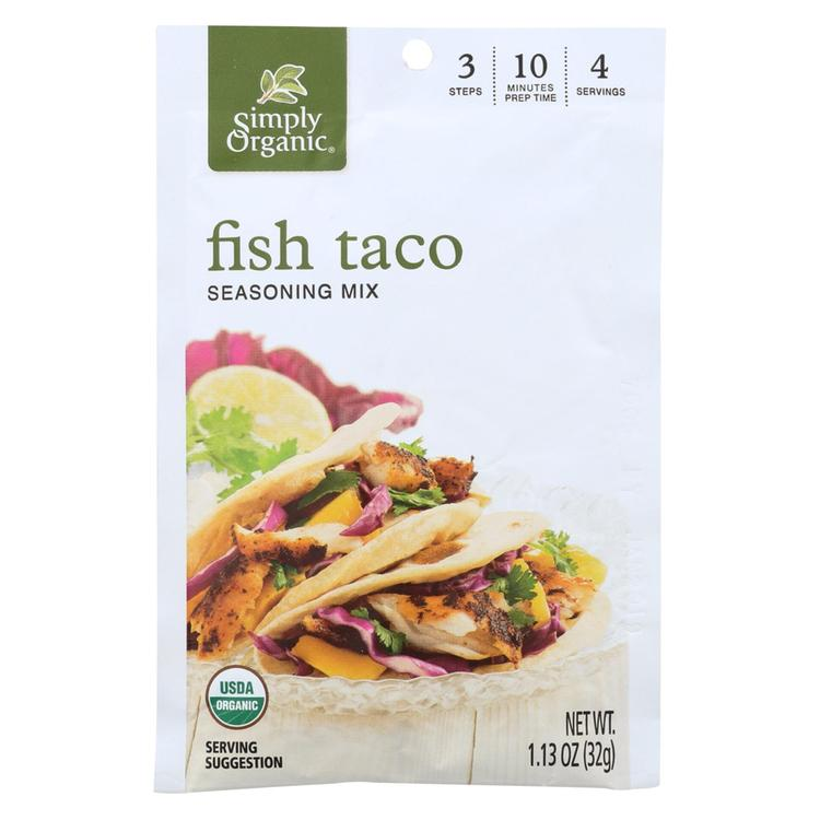 Simply Organic Seasoning Mix - Fish Taco - Case of 12 - 1.13 oz.