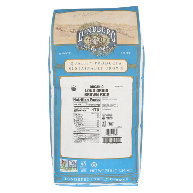 Lundberg Family Farms Organic Long Grain Brown Rice - Case of 25 lbs
