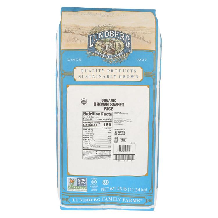 Lundberg Family Farms Organic Brown Sweet Rice - Case of 25 lbs