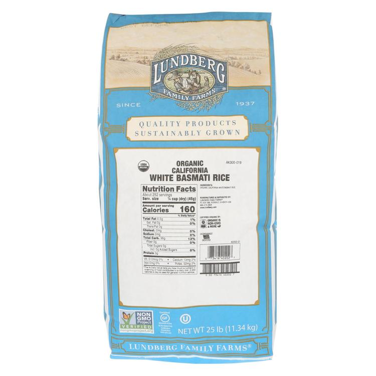 Lundberg Family Farms Organic California White Basmati Rice - Case of 25 lbs