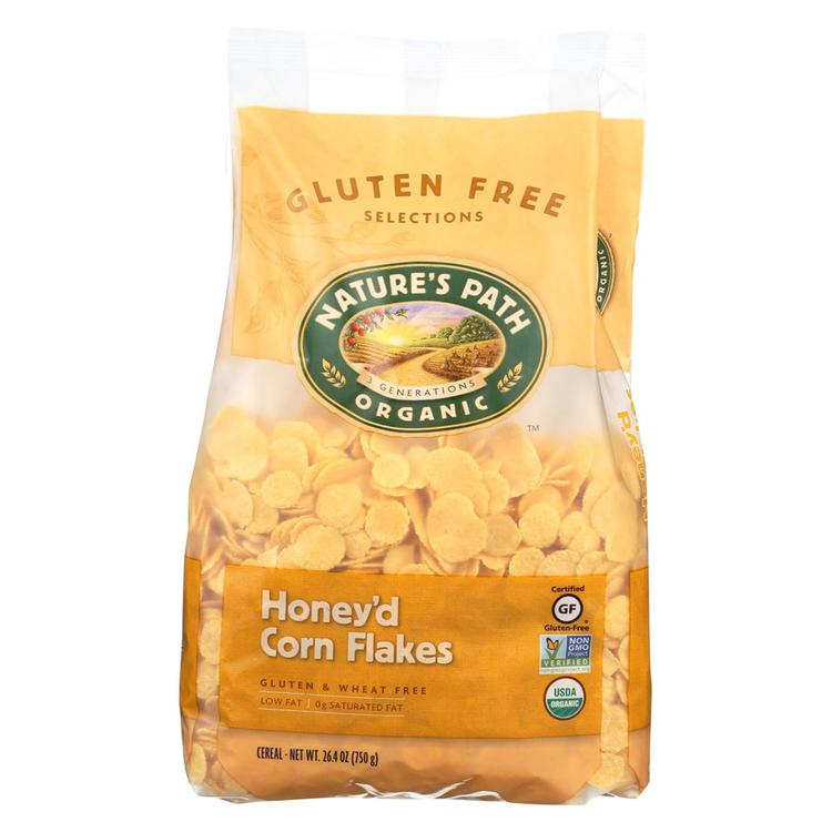 Nature's Path Organic Corn Flakes Cereal - Honey'D - Case of 6 - 26.4 oz.