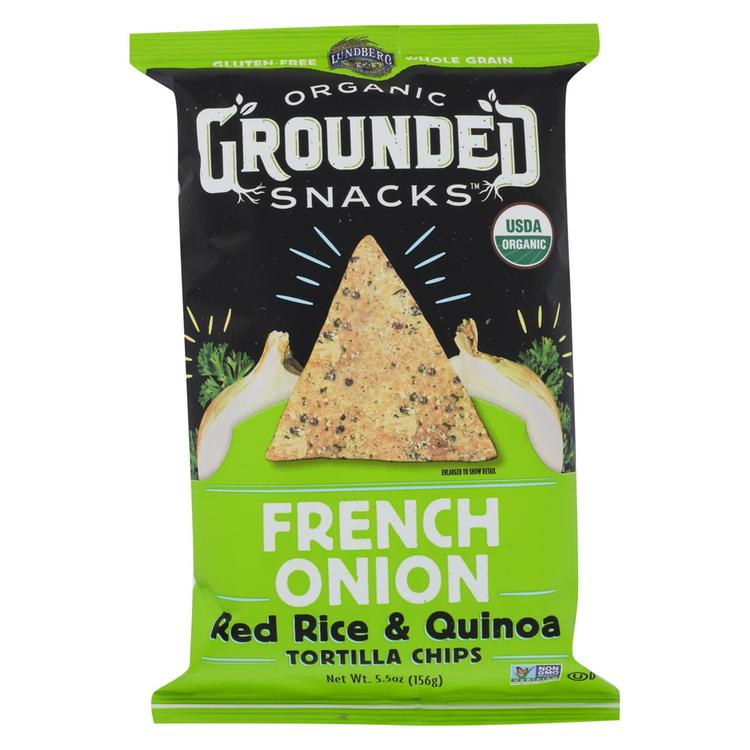 Lundberg Family Farms Organic Grounded Chips - French Onion - Case of 12 - 5.5 oz