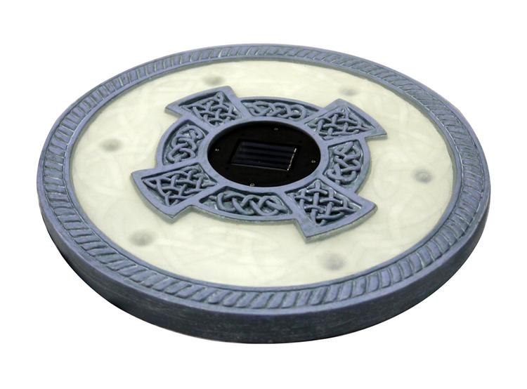Homebrite Set of 3 Solar Power 6 LED Round Oyster Grey Stepping Stones