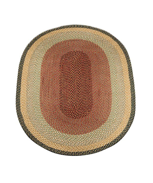 Earth Rugs C-057 Home Decorative Oval Shape Braided Jute Floor Rug Burgundy/Gray/Creme 4'x6'
