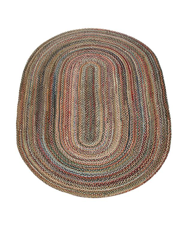 Earth Rugs C-999 Home Decorative Oval Shape Braided Jute Floor Rug Random 5'x8'