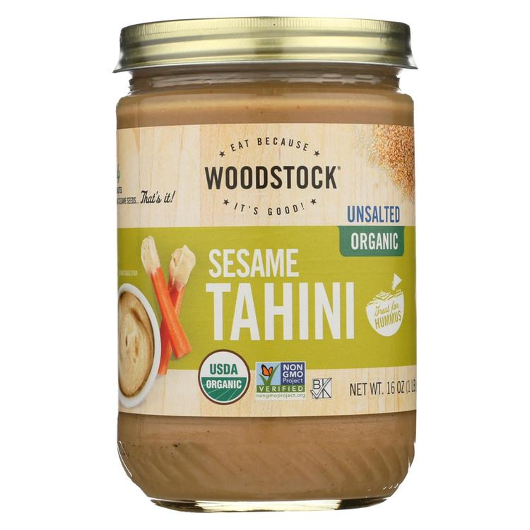 Woodstock Organic Tahini - Unsalted - Case of 12 - 16 oz.