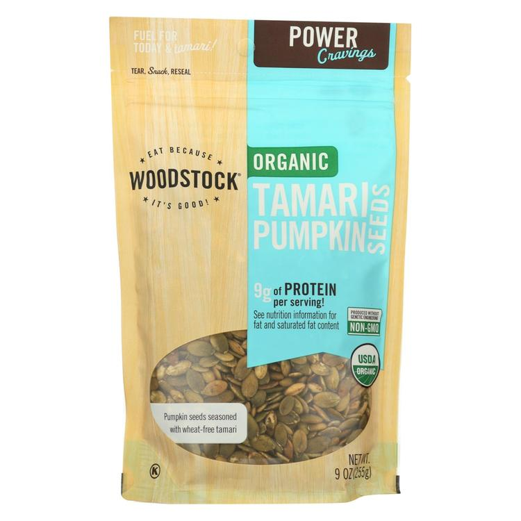 Woodstock Organic Tamari Pumpkin Seeds - Case of 8 - 9 oz.