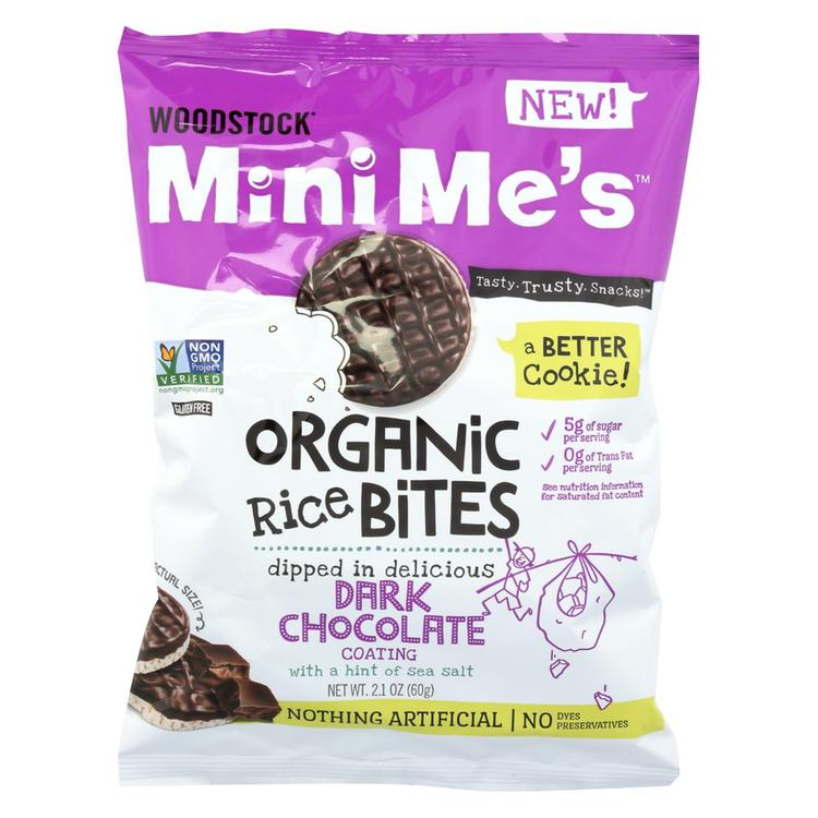 Woodstock Rice Bites - Organic - Mini Me's - Dark Chocolate - Sea Salt - 2.1 oz - case of 8