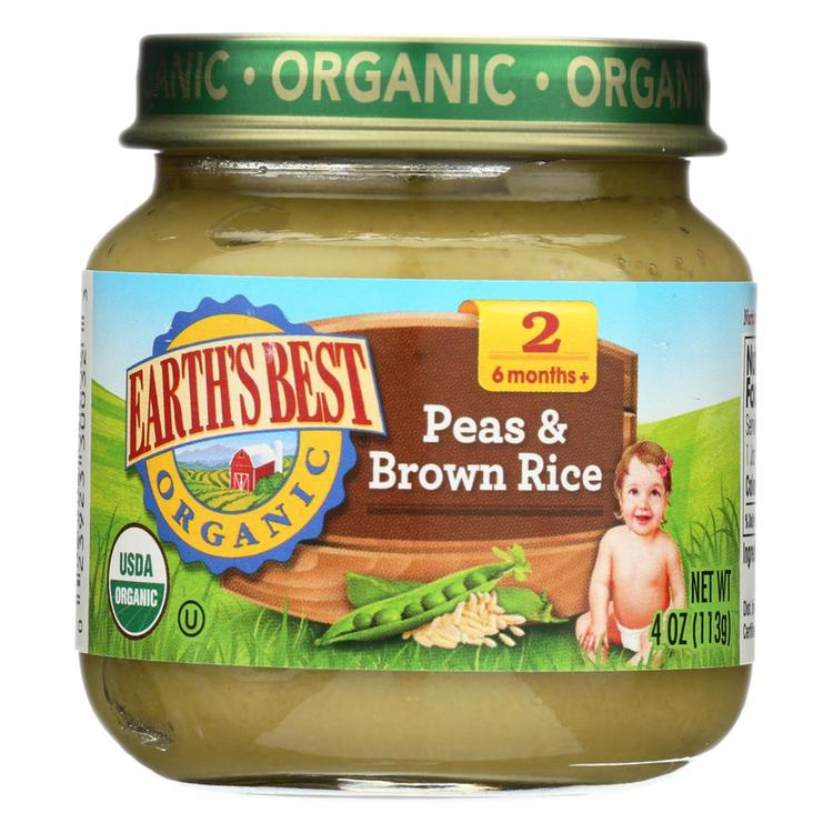 Earth's Best Organic Peas and Brown Rice Baby Food - Stage 2 - Case of 12 - 4 oz.
