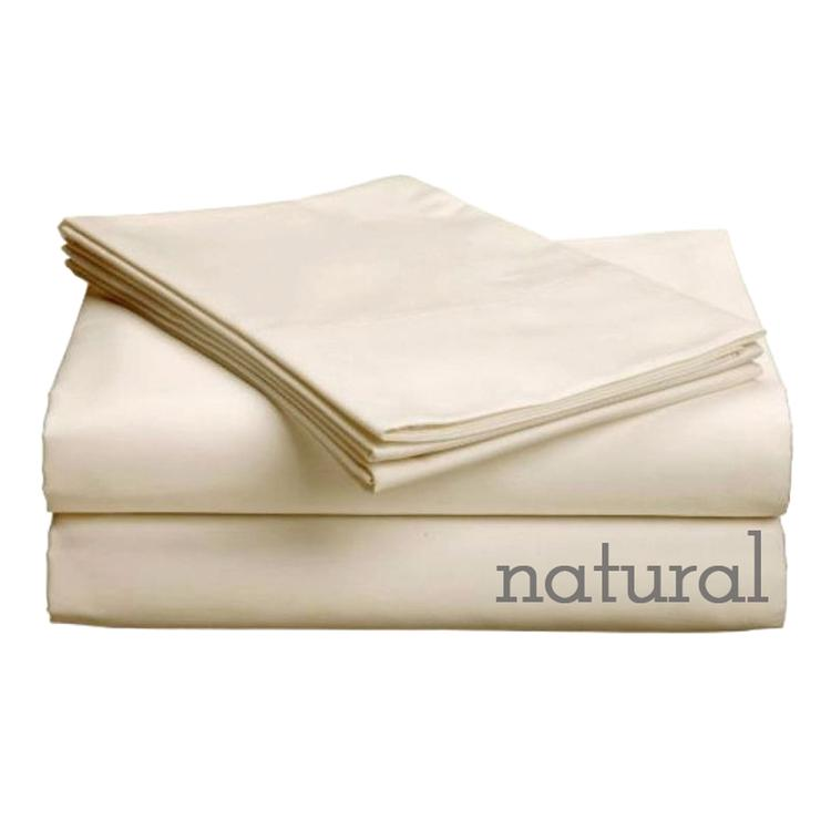 "Pure Collection-300ct 100% Egyptian Certified Organic Cotton Deep Profile Upto 18"" Pocket SheetSets Queen Natural"