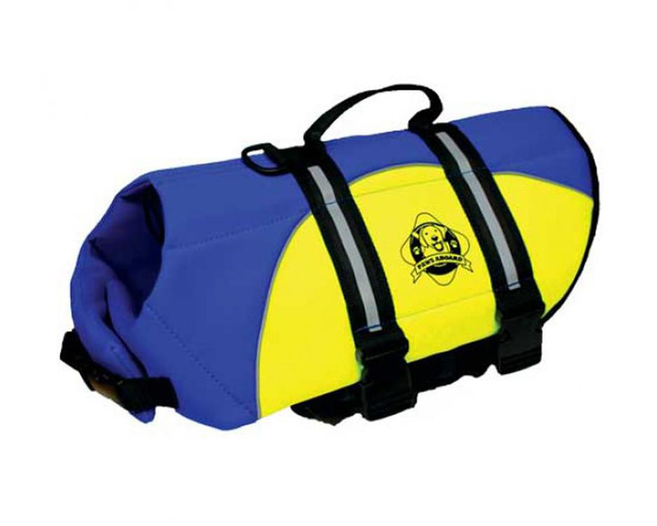 Paws Aboard Double Extra Small Neoprene Designer Doggy Blue / Yellow Life Guard / Jacket Upto 2-6 lbs