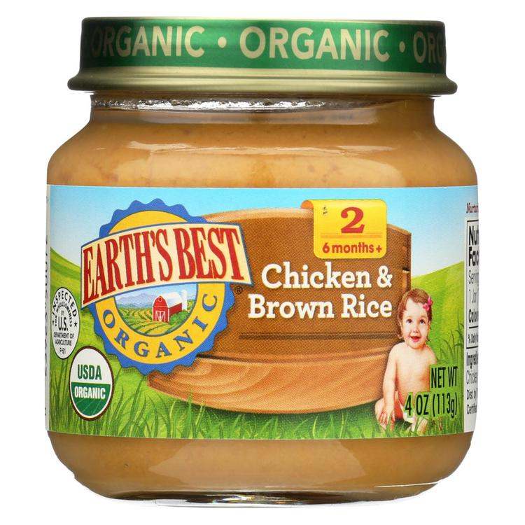 Earth's Best Organic Chicken and Brown Rice Baby Food - Stage 2 - Case of 12 - 4 oz.