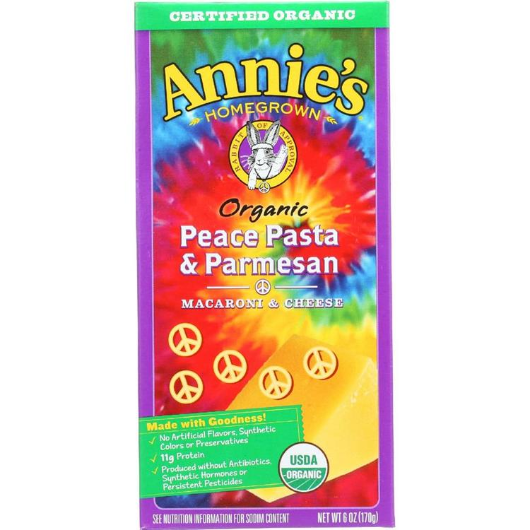 Annie's Homegrown - Peace Pasta & Parmesan Cheese ( 12 - 6 OZ)