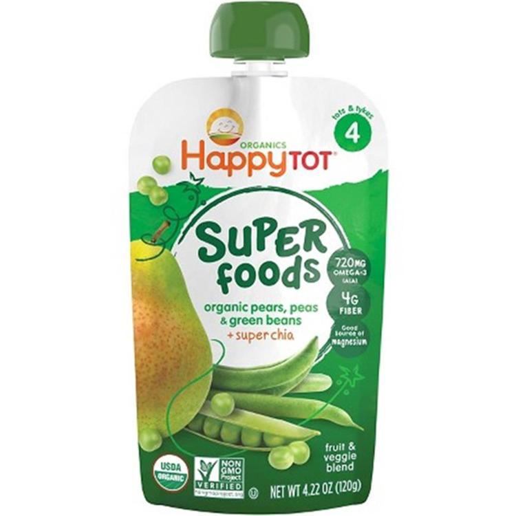 Happy Family - Happy Tot Organic Baby Food Stage 4 Green Beans Pears And Pea ( 16 - 4.22OZ)