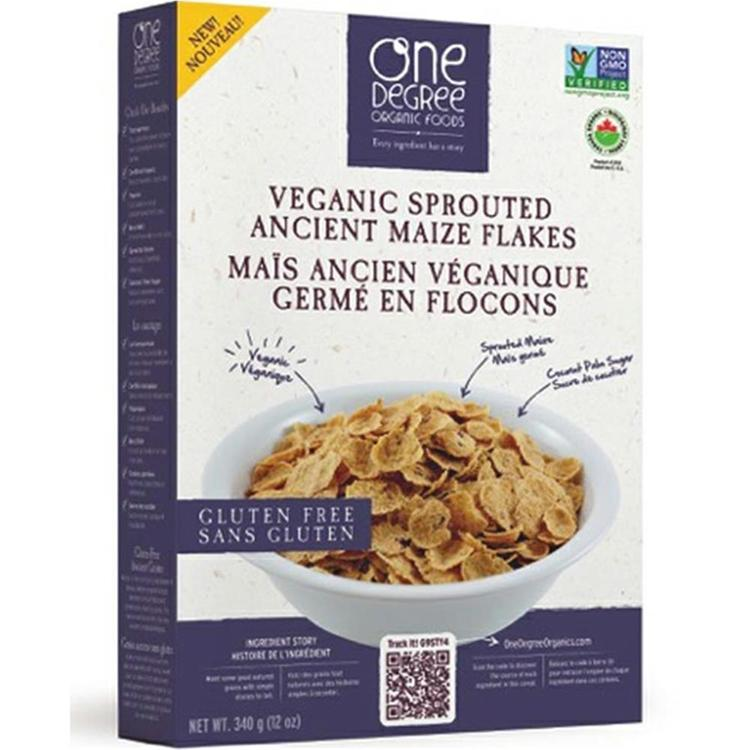 One Degree Organic Foods - Ancient Sprouted Maize Flakes ( 6 - 12 oz boxes)