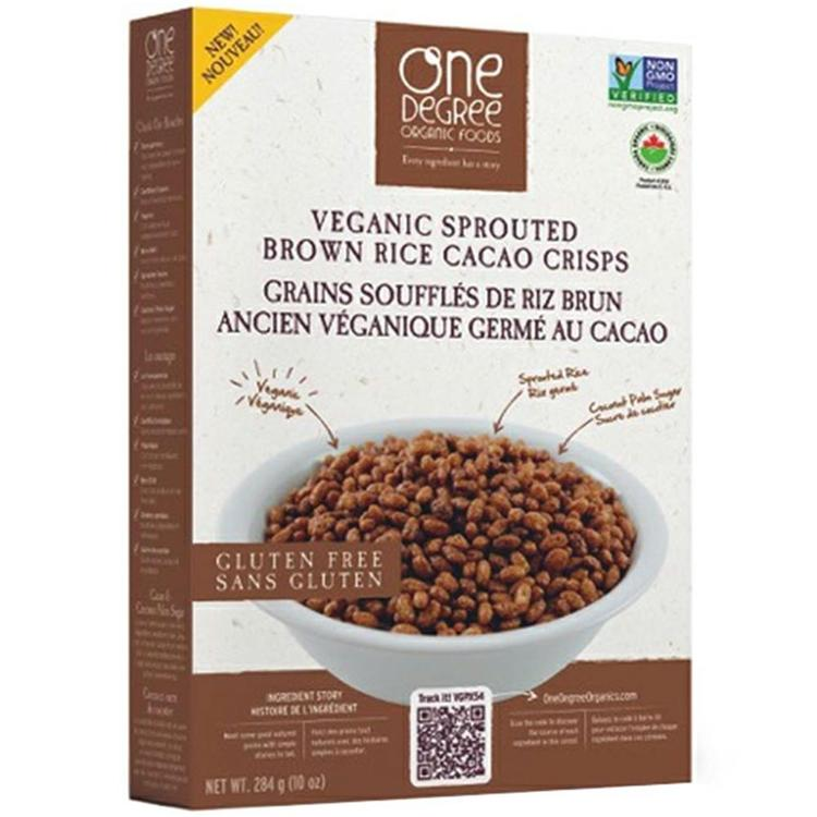 One Degree Organic Foods - Sprouted Brown Rice Cacao Crisps ( 6 - 10 oz boxes)