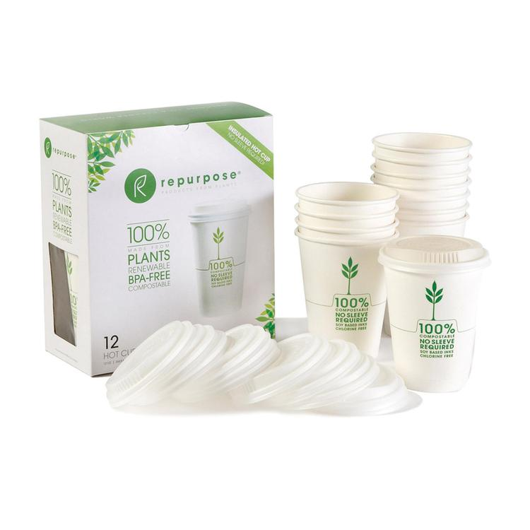 Repurpose Insulated Hot Cups Lids - Case of 12 - 12 Count