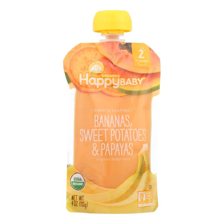 Happy Baby Happy Baby Clearly Crafted - Bananas Sweet Potatoes and Papayas - Case of 16 - 4 oz.