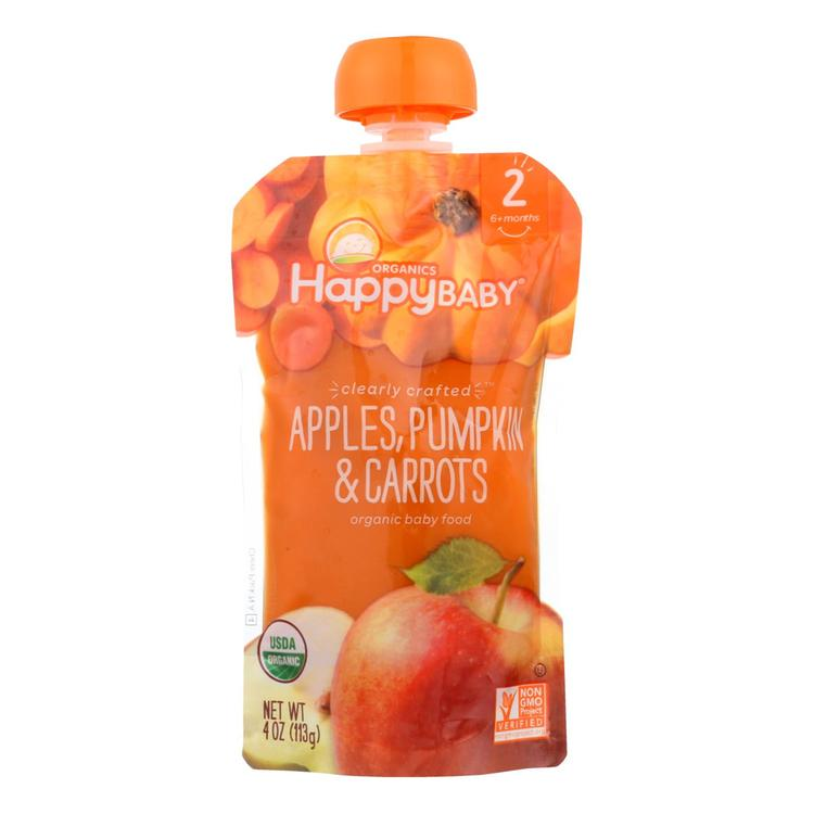 Happy Baby Happy Baby Clearly Crafted - Apples Pumpkin and Carrots - Case of 16 - 4 oz.