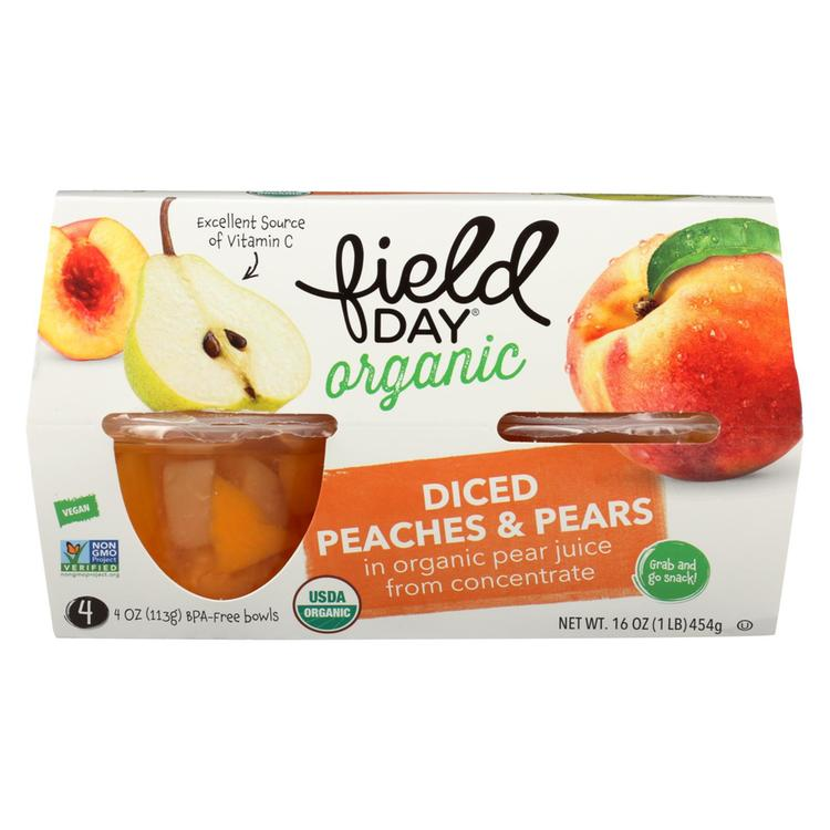 Field Day Fruit Cups - Organic - Peaches and Pears - 4/4 oz - case of 6