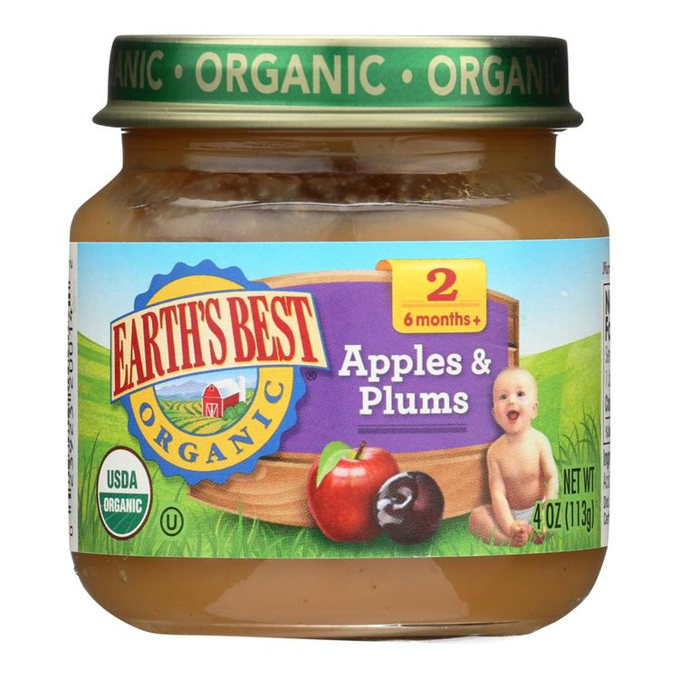 Earth's Best Organic Apples and Plums Baby Food - Stage 2 - Case of 12 - 4 oz.