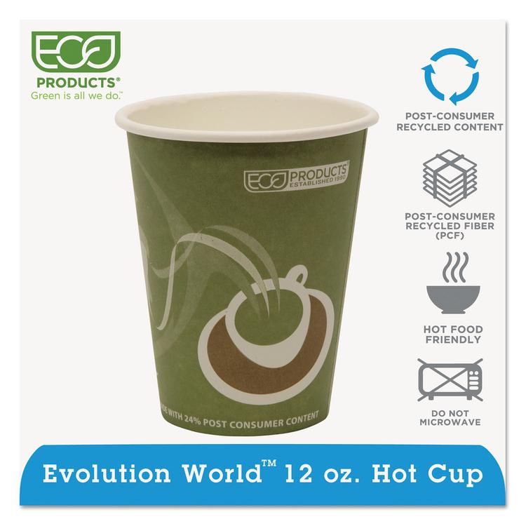 Evolution World 24% Recycled Content Hot Cups - 12oz., 50/pk, 20 Pk/ct