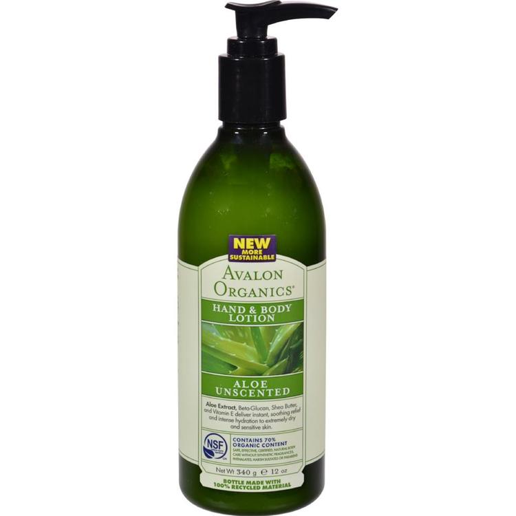 Avalon Organics - Hand And Body Lotion Aloe - Unscented ( 2 - 12 FZ)