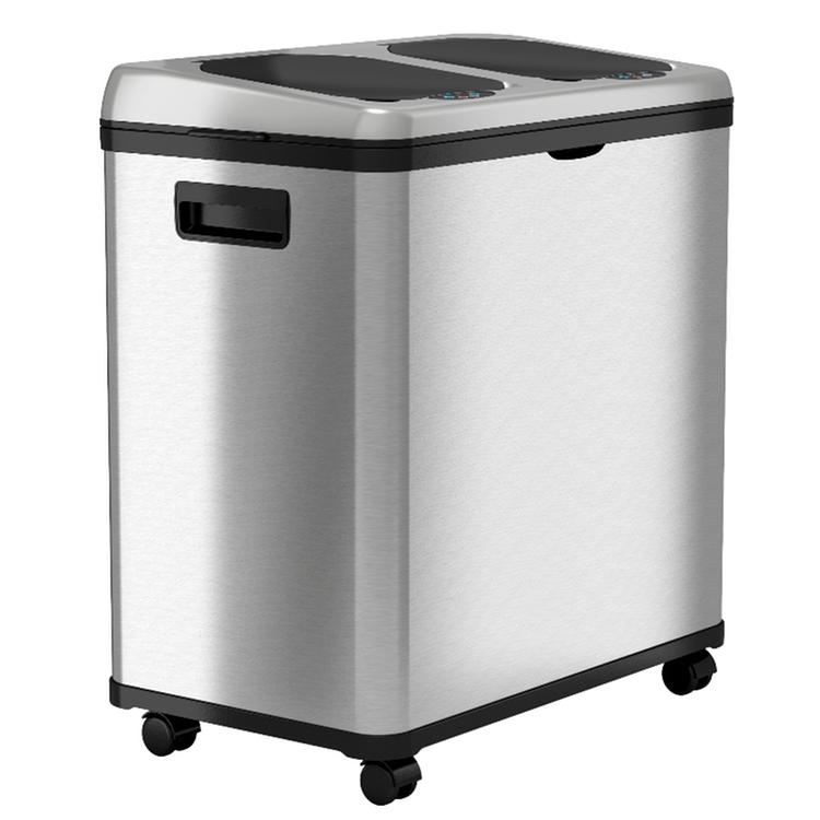 iTouchless 16 Gallon Dual-Compartment Stainless Steel Recycle Bin NX