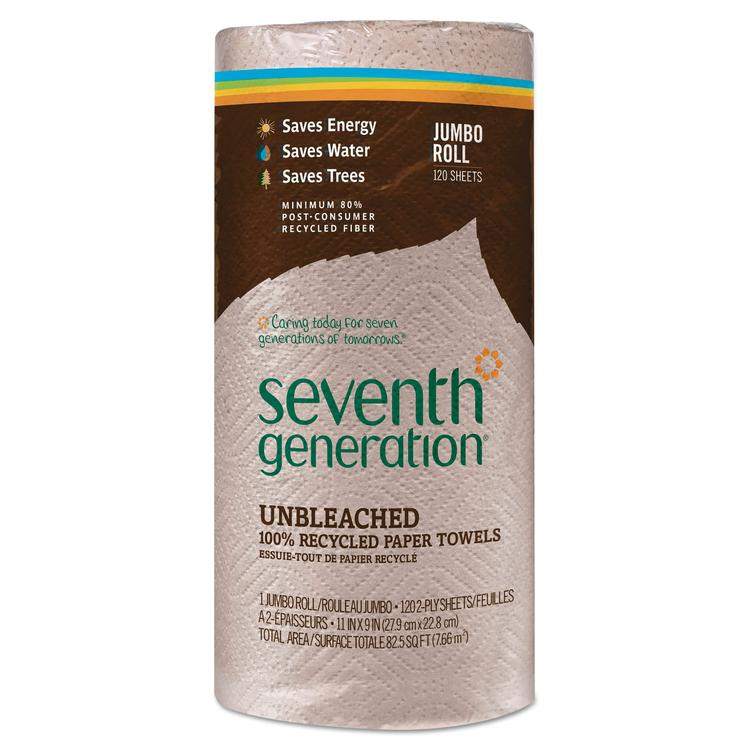 Natural Unbleached 100% Recycled Paper Towel Rolls, 11 X 9, 120 Sheets/roll