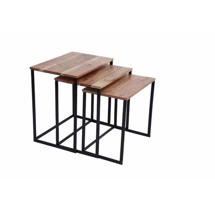 Industrial style Wooden Nesting Coffee End Tables With Metal Base Set Of 3
