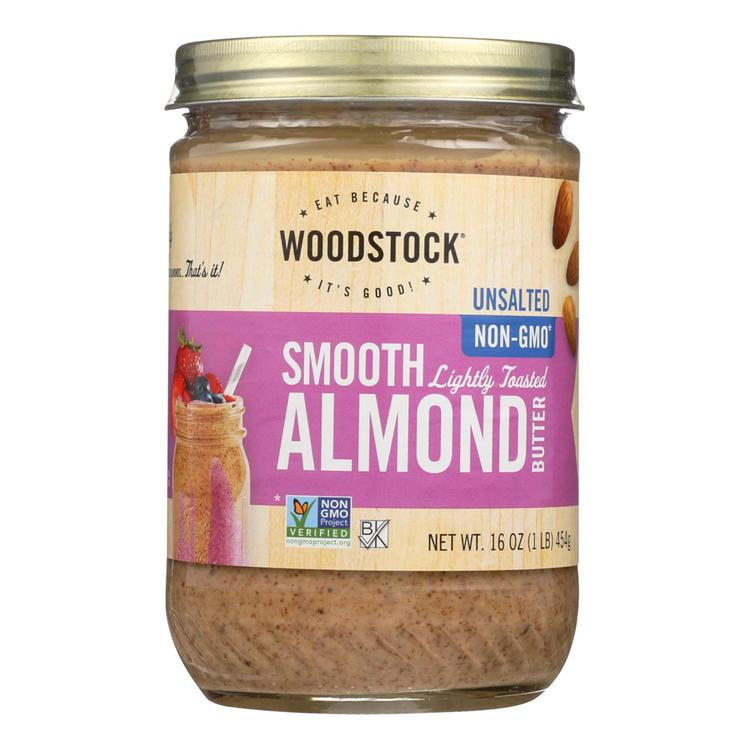 Woodstock Almond Butter - Lightly Toasted - Unsalted - 16 oz.