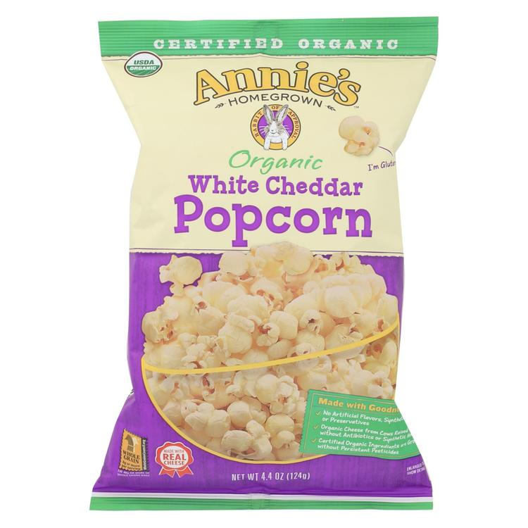 Annie's Homegrown Organic Popcorn - White Cheddar - Case of 12 - 4.4 oz