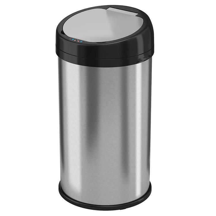 iTouchless 13 Gallon Sensor Touchless Trash Can Stainless Steel Round Extra-Wide Opening