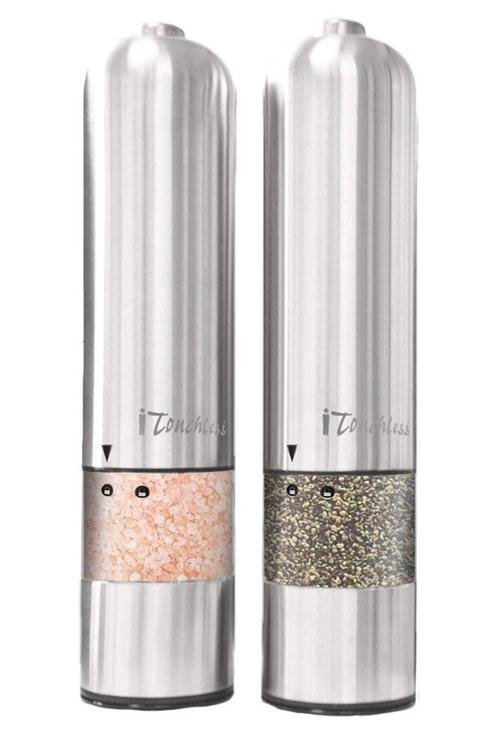 iTouchless Automatic Stainless Steel Pepper and Salt Grinder  (2/Pack)