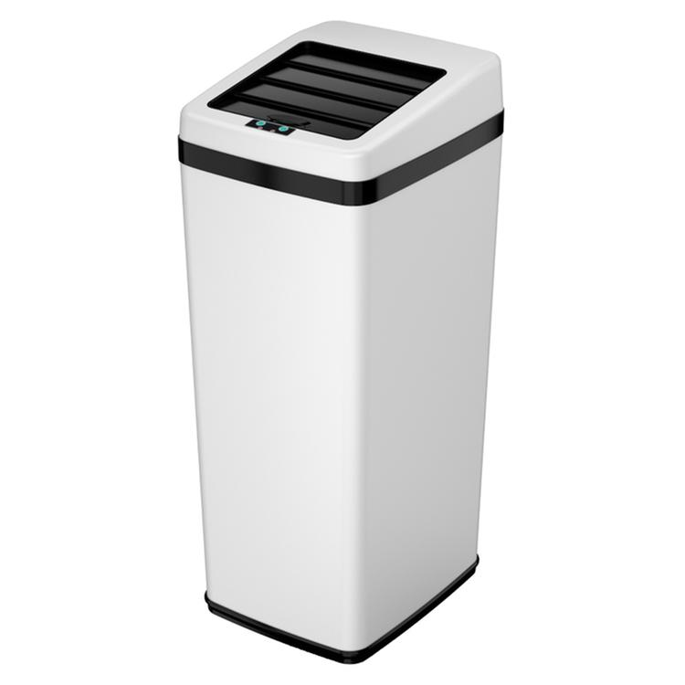 iTouchless 14 Gal. Automatic White Steel Touchless Trash Can SX