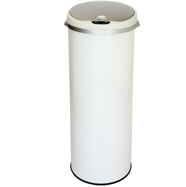 iTouchless Round Sensor Matte Deodorizer Finish Trash Can, 13-Gallon, Pearl White