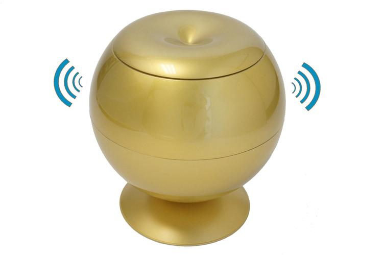 iTouchless Sensor Apple Hidden Storage Container, Glossy Gold